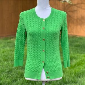 Talbots Green Cable Knit Button-Up Cardigan MEDIUM